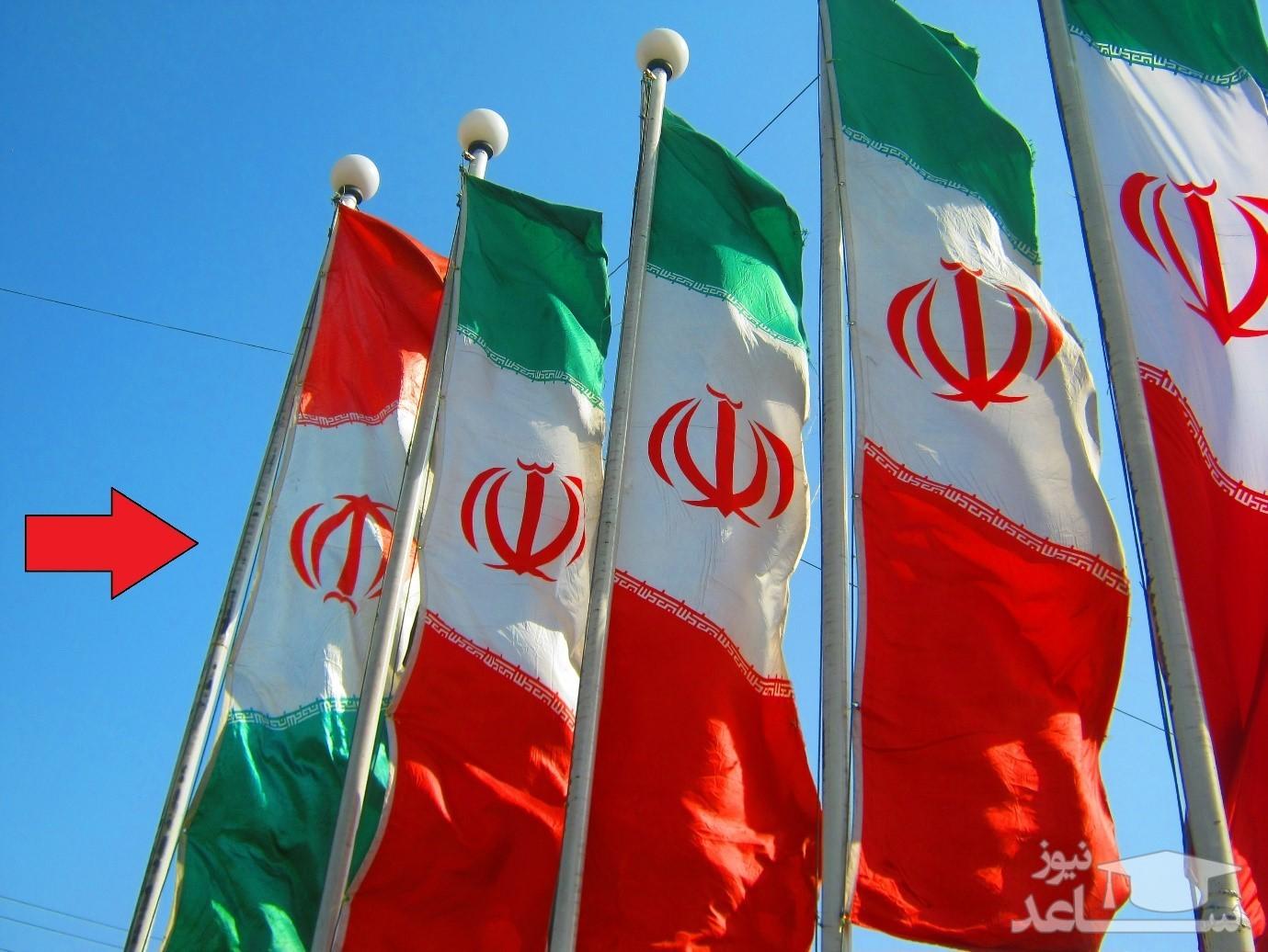 (عکس) نَصب واژگونه پرچم ایران در شهر قم!