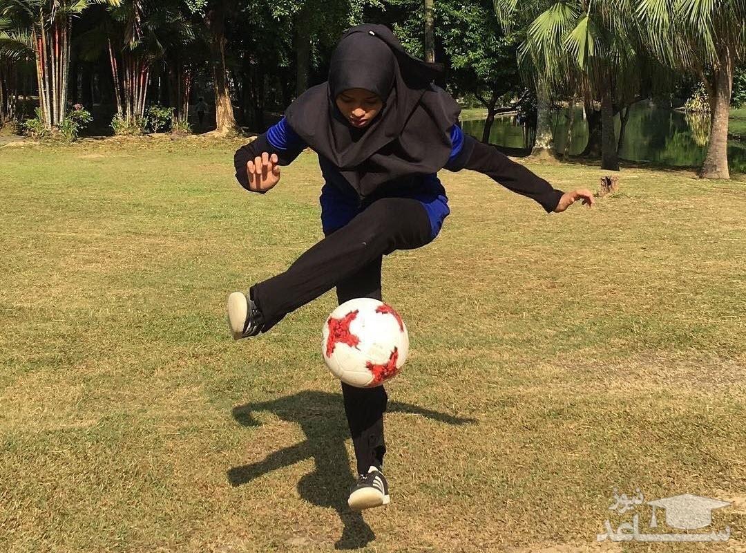 (فیلم) مهارت دیدنی دختر مالزیایی در فوتبال