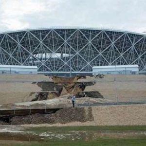 (فیلم) ورزشگاه میزبان جام جهانی 2018 فروریخت!