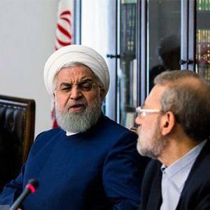 (عکس) اخم جنجالی روحانی به لاریجانی!