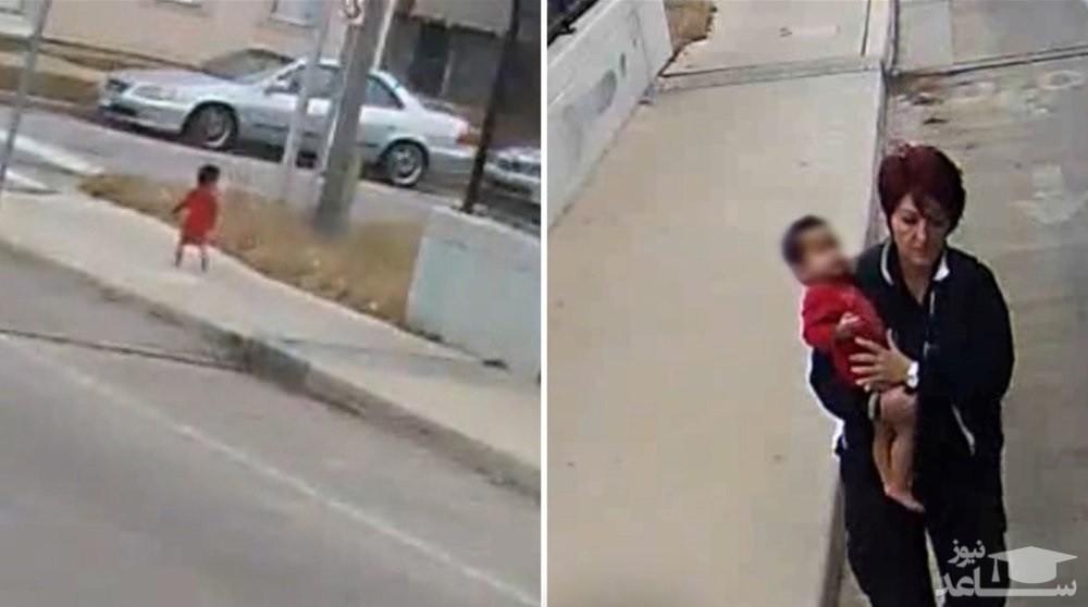 (فیلم) لحظه نجات کودک گمشده توسط راننده اتوبوس