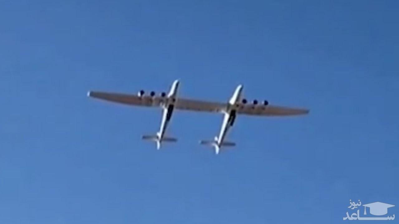 (فیلم) لحظه پرواز موفقیت آمیز بزرگ ترین هواپیمای جهان
