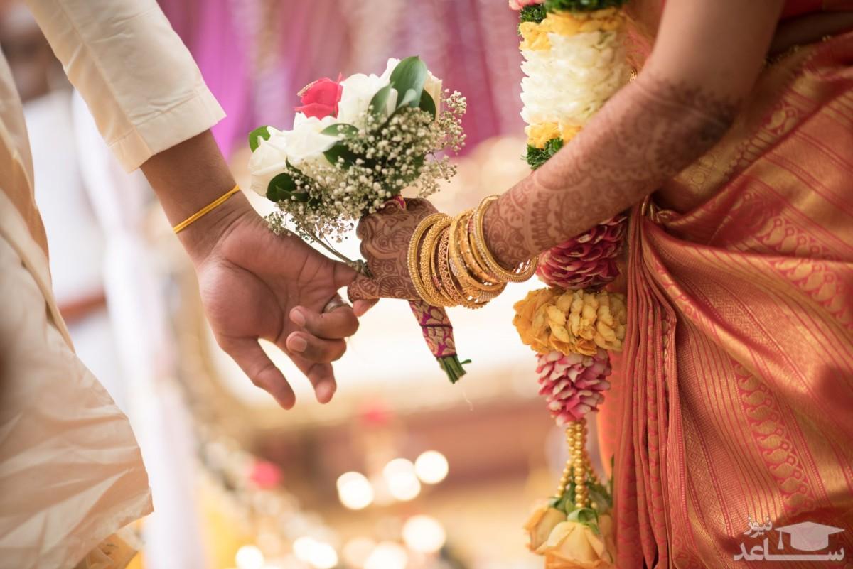 لحظه درگیری عروس با داماد سر سفره عقد! +فیلم