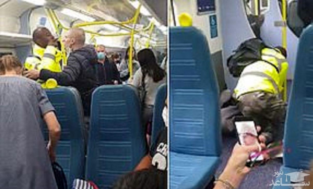 (فیلم) درگیری فیزیکی شدید دو مسافر بخاطر ماسک نزدن!