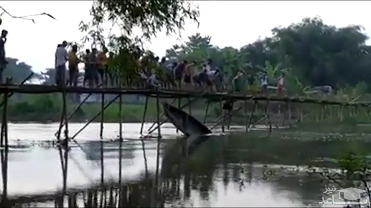 (فیلم) ۱۵ مجروح در حادثه سقوط پل چوبی
