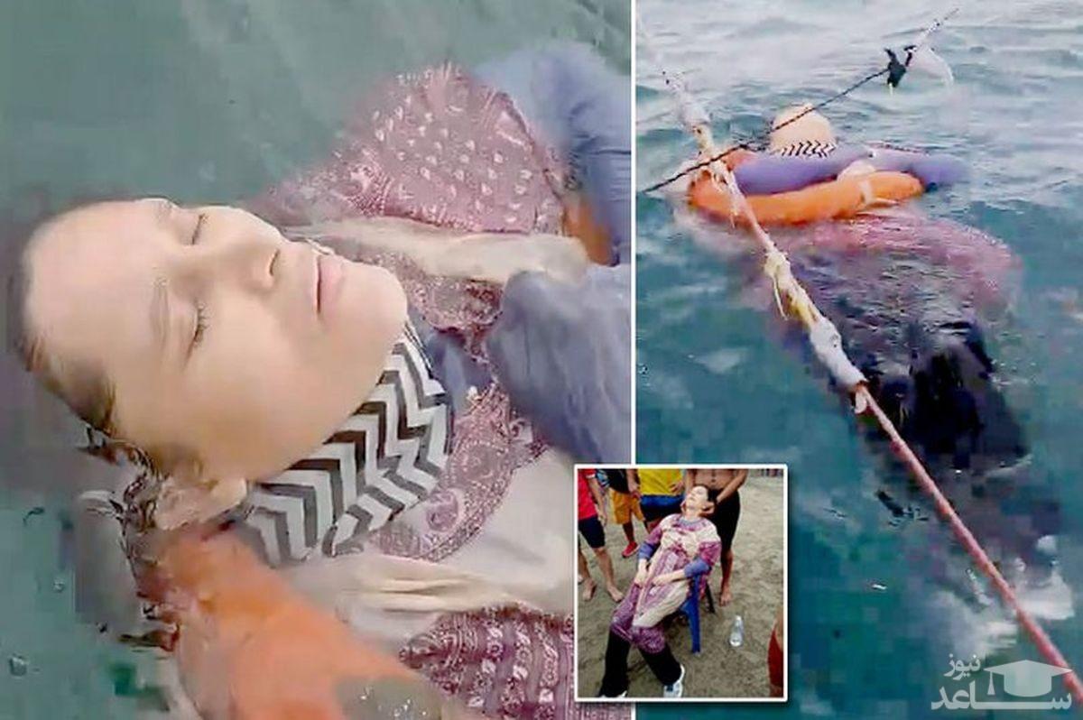 صید زن نیمه جان پس از دوسال ناپدید شدن بدست ماهیگیران