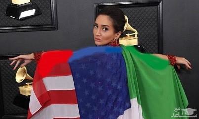 ماجرای عجیب دختری که با پرچم ایران در گِرمی بود