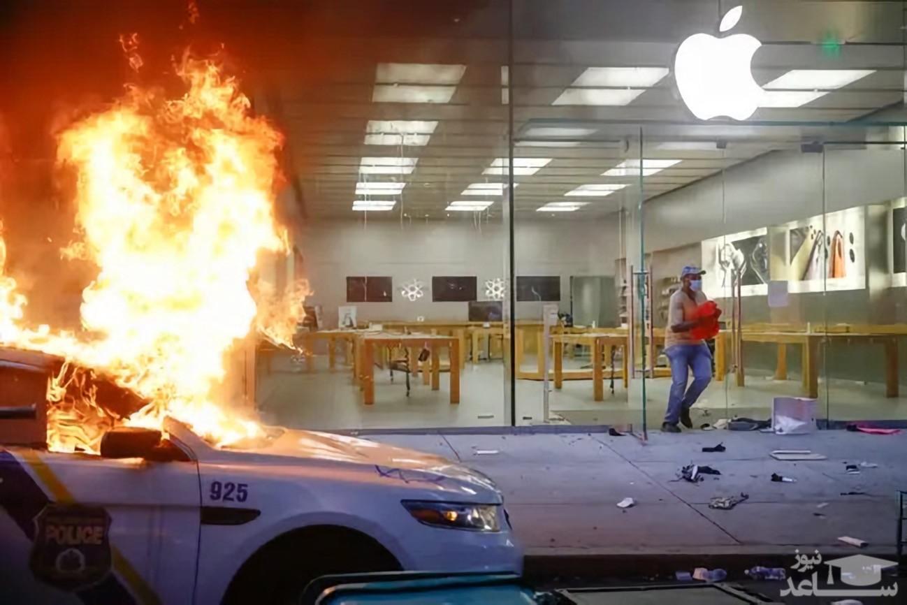 (فیلم) بهآتش کشیده شدن فروشگاه اپل در آمریکا