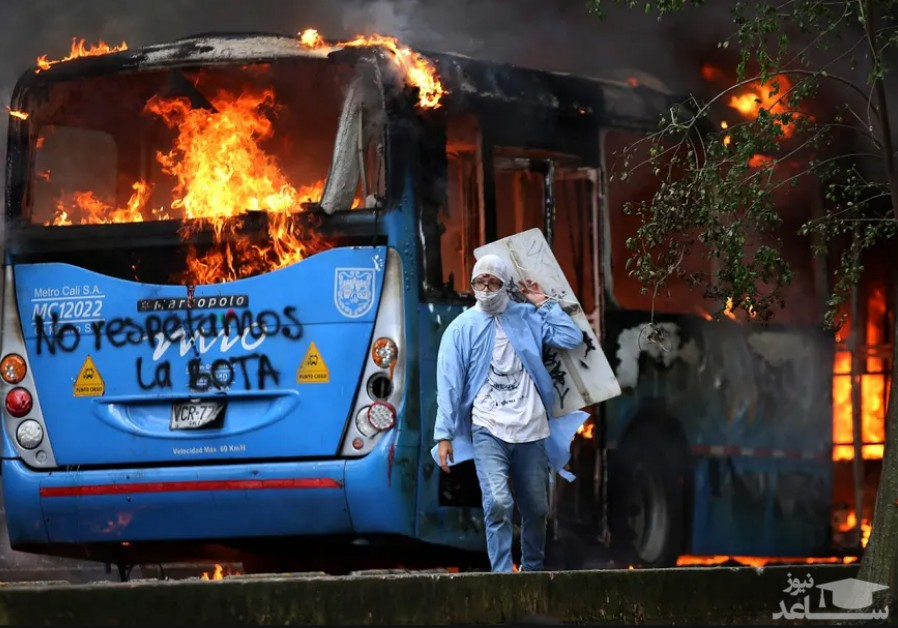 اعتراضات ضددولتی علیه اصلاح قانون مالیاتی در شهر کالی کلمبیا