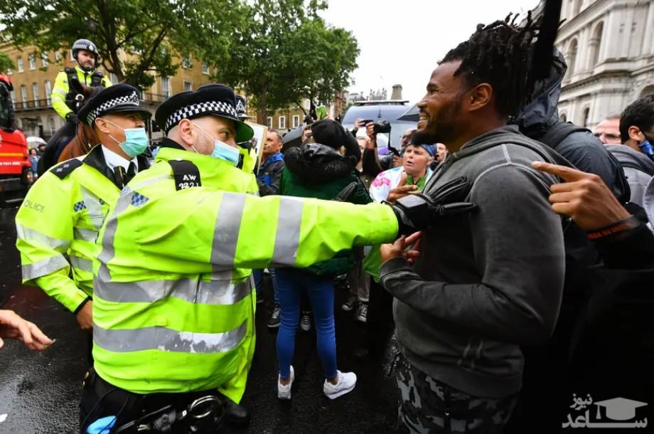 تظاهرات مخالفان ادامه محدودیت های کرونایی در شهر لندن