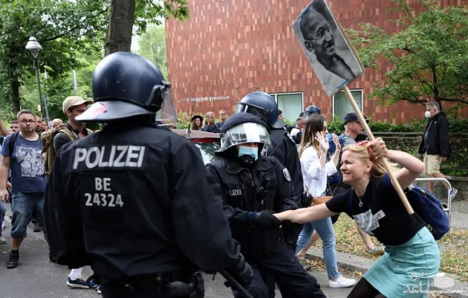اعتراضات در شهر برلین آلمان علیه محدودیت های کرونایی وضع شده از سوی دولت