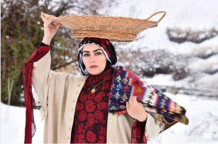 چشمان زیبا و دلبر هدیه بازوند بازیگر نقش روژان در نون خ 3 با لباسی جذاب