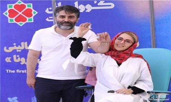 ژیلا صادقی  و همسرش داوطلب واکسن ایرانی