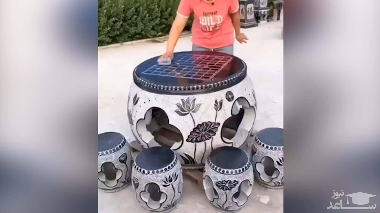 (فیلم) ساخت میز و صندلی جالب با استفاده از سنگ!
