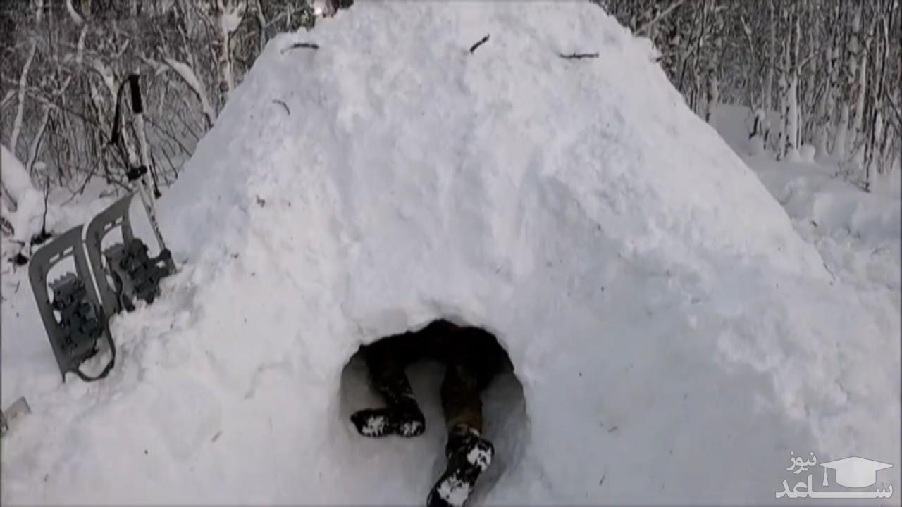 (فیلم) نحوه ساخت پناهگاه برفی در طبیعت