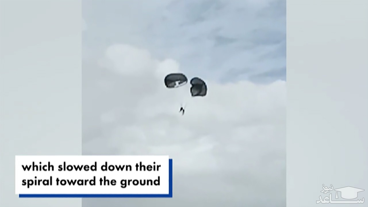 (فیلم) در هم پیچیدن دو چتر نجات در میان زمین و آسمان
