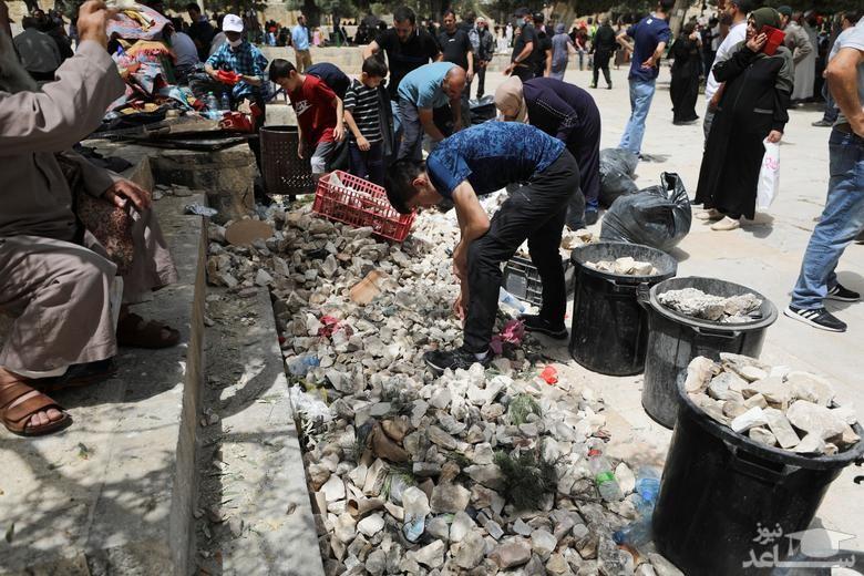 سنگ های جمع شده فلسطینیان