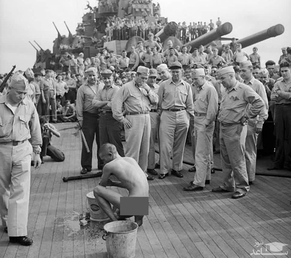 (عکس) لخت کردن اسیر ژاپنی توسط آمریکاییان