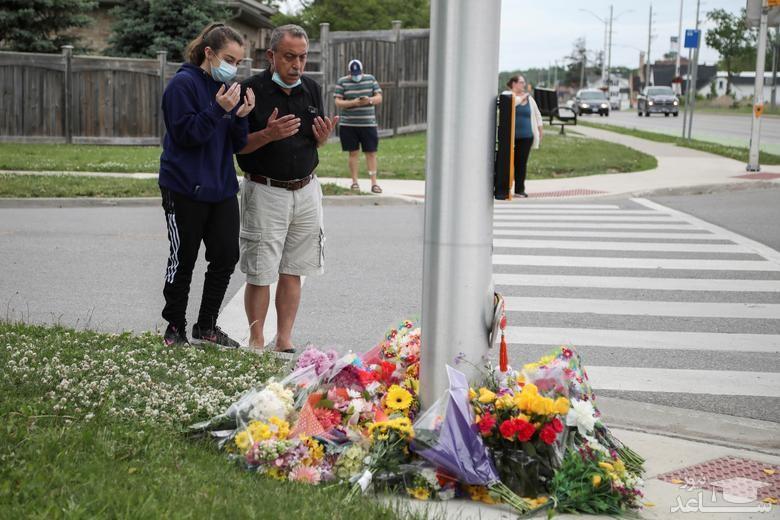 """حضور """"جاستین ترودو"""" نخست وزیر کانادا در مراسم گرامیداشت 4 عضو یک خانواده مسلمان که در حمله تروریستی ناشی از نفرت از سوی یک راننده 20 ساله در استان اونتاریو کانادا کشته شدند."""