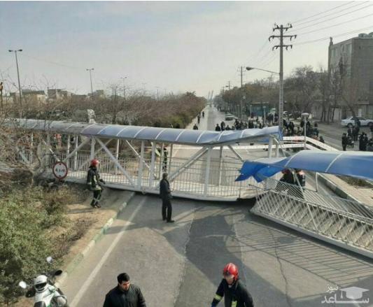 سقوط پل عابر در مشهد و مصدومیت ۷ نفر!