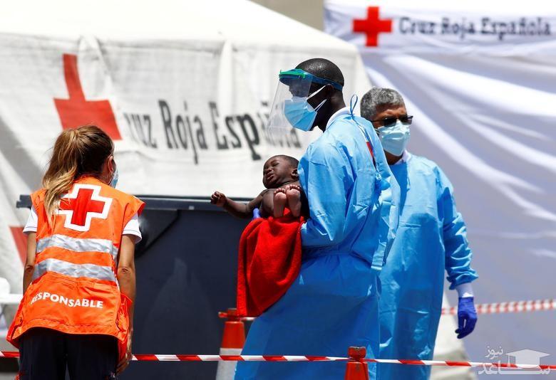امدادرسانی نیروهای صلیب سرخ به پناهجویان آفریقایی