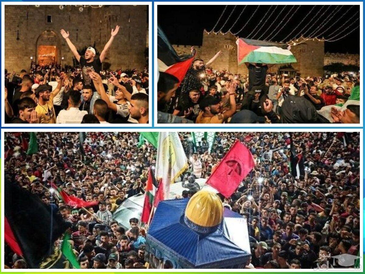 برگزاری جشن پیروزی فلسطین در مزار شهید سلیمانی