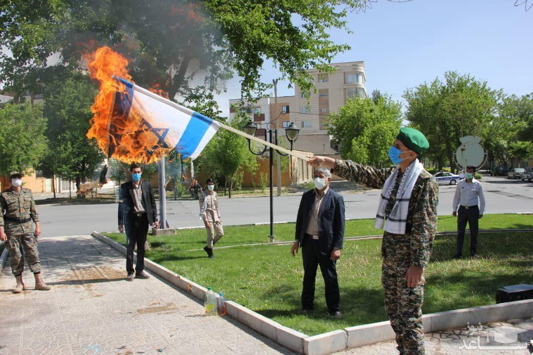 آتش کشیدن پرچم رژیم صهیونیستی