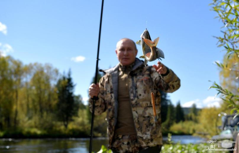 (تصاویر) ماهیگیری ولادیمیر پوتین در تعطیلات