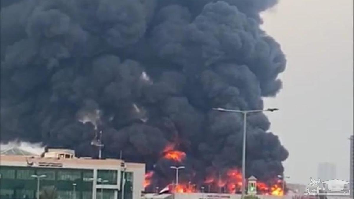 تصاویری از آتش سوزی مهیب در بازار شهر «عجمان» در امارات