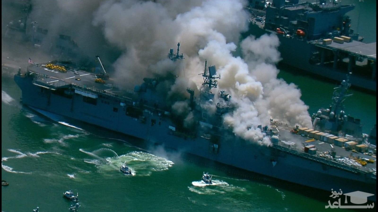 (فیلم) فرضیههایی مهم درباره علت انفجار ناو هواپیمابر آمریکا