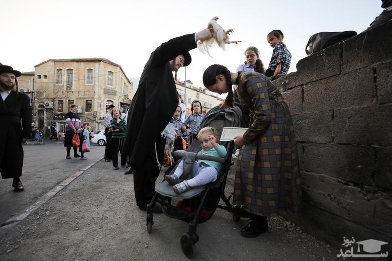"""اجرای آیین مذهبی """"کاپاروت"""" (انتقال گناهان یک ساله انسان به حیوان) از سوی مرد یهودی ارتدوکس روی یک نوجوان در حومه شهر قدس/ رویترز"""