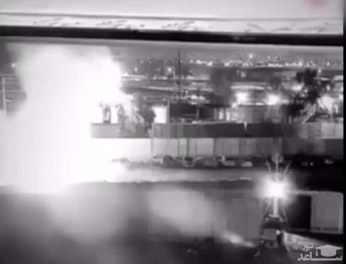 فیلم لحظه اصابت موشک به خودروی سردار سلیمانی در فرودگاه بغداد
