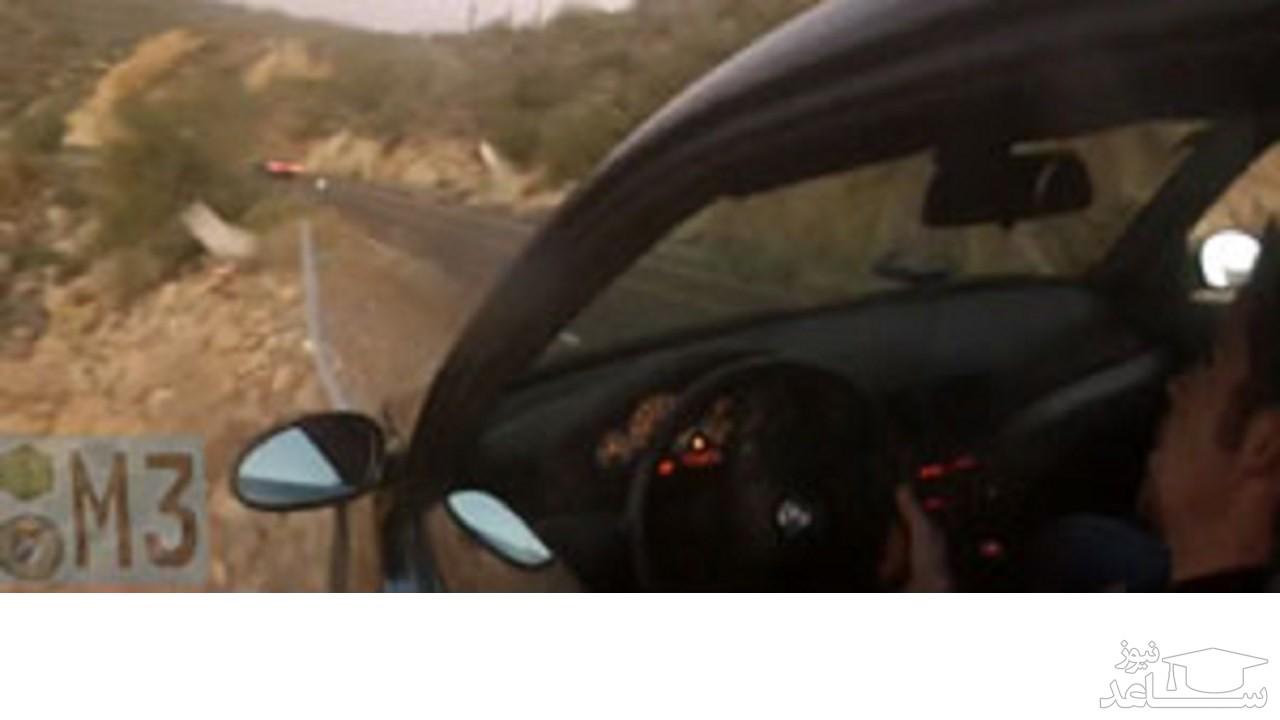 (عکس)  خوش شانسی گردشگران هنگام سقوط خودرو از صخره!