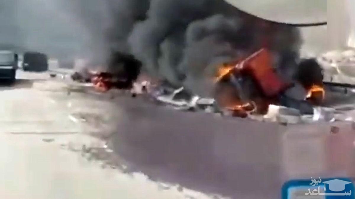 (فیلم) در آتش سوختن وحشتناک رانندگان 2 ماشین سنگین