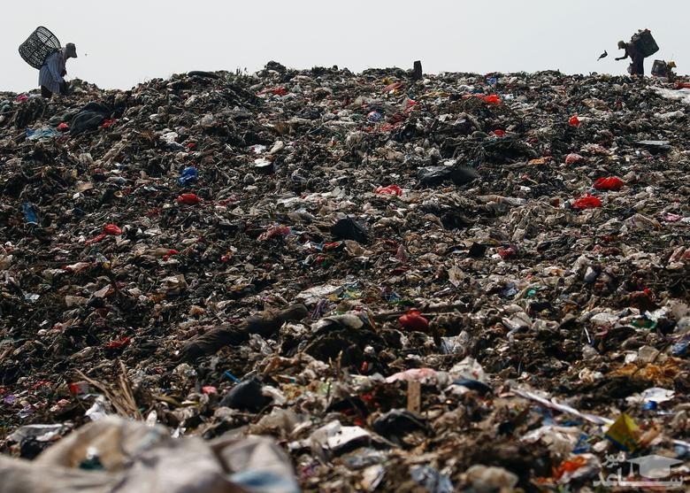 جمع آوری زباله های بازیافتی در یک محل دپو زباله در حومه شهر جاکارتا اندونزی