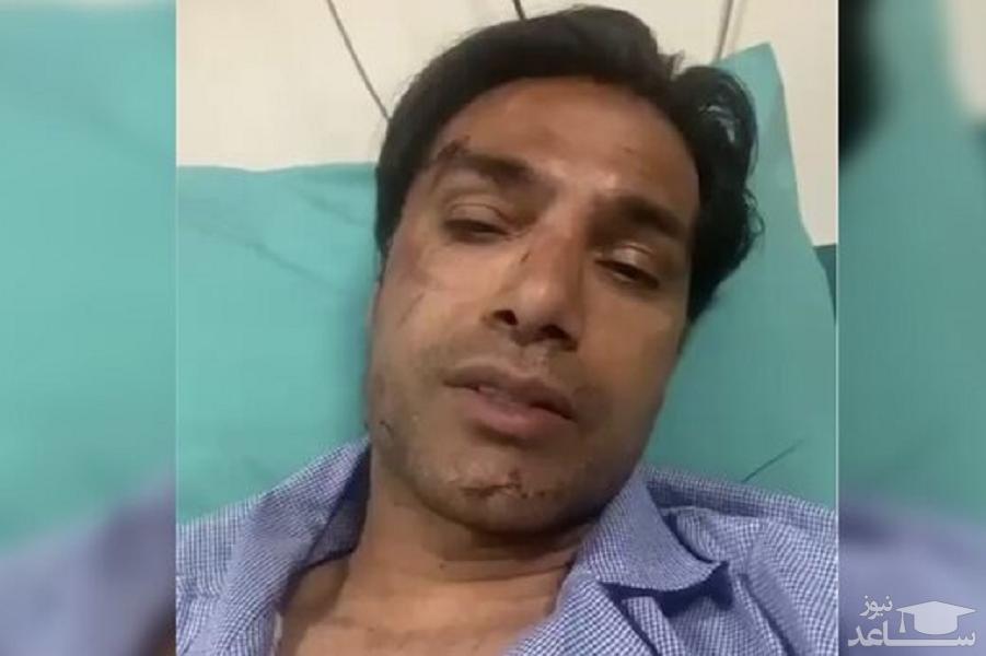 (فیلم)پیام امیرحسین صادقی پس از تصادف خونین