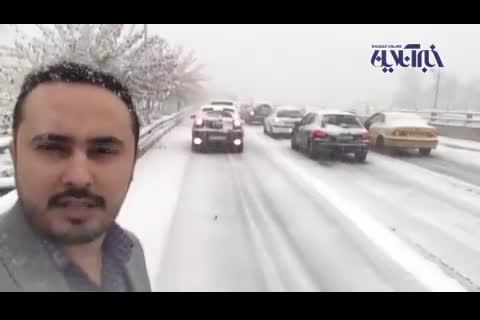 (فیلم) برف بزرگراه یادگار امام را بست