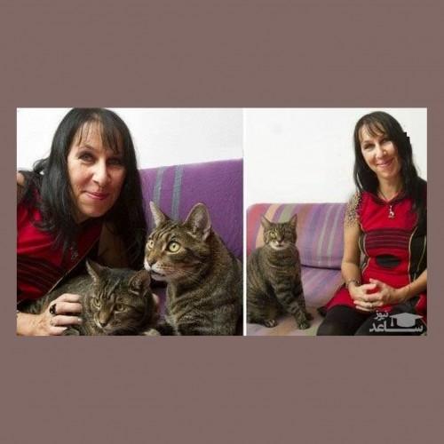 ازدواج یک زن با دو گربه!!
