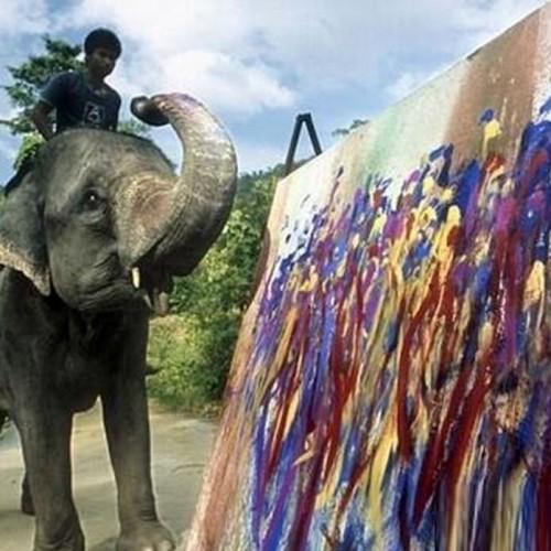 (عکس) تابلوهای گران قیمت فیل های نقاش