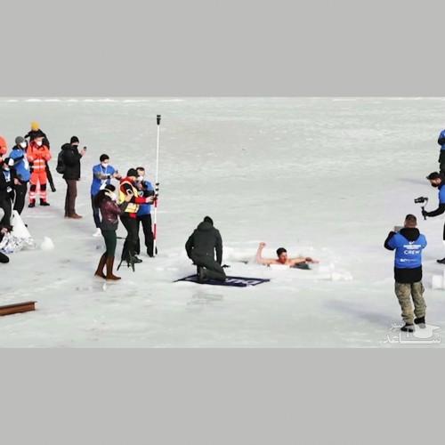 (فیلم) فیلمی از غواصی که رکورد جهانی شنا زیر یخ را شکست!