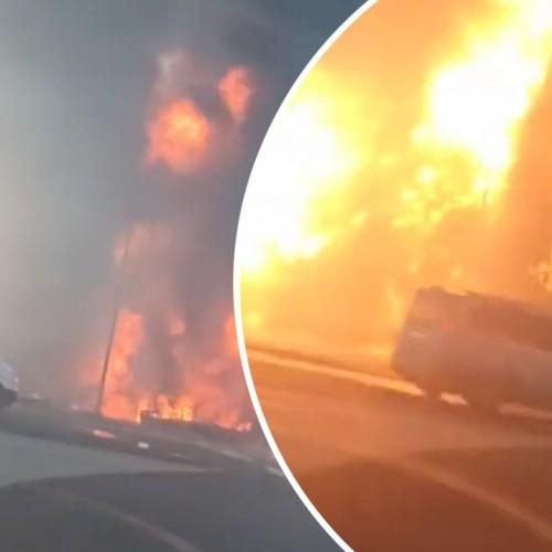 (فیلم) لحظه انفجار مخزن گازوئیل یک تریلی