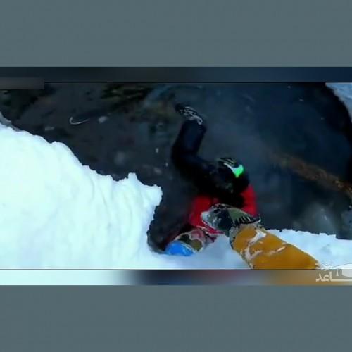 (فیلم) سقوط اسکی باز روس داخل گودال پر از آب