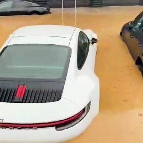 German Luxury Porsches Flooded by Unexpected Deluge