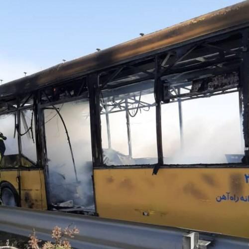 (فیلم)لحظه انفجار خودروی اتوبوس شرکت واحد