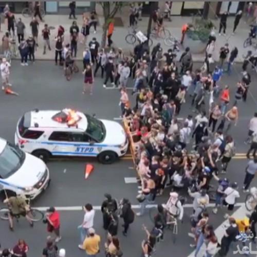 (فیلم) زیر گرفتن معترضان به قتل جورج فلوید در نیویورک توسط خودروهای پلیس
