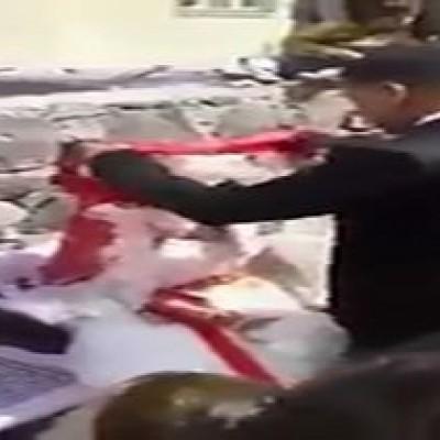 (فیلم) رسم عجیب کتک زدن عروس در روز ازدواج