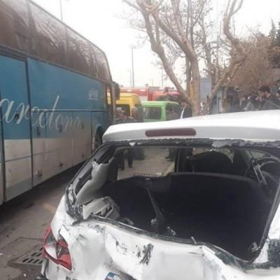 برخورد مرگبار اتوبوس با ۷ خودرو در ولنجک تهران + عکس