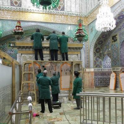 (تصاویر) زیباسازی حرم امام رضا(ع) پشت درهای بسته